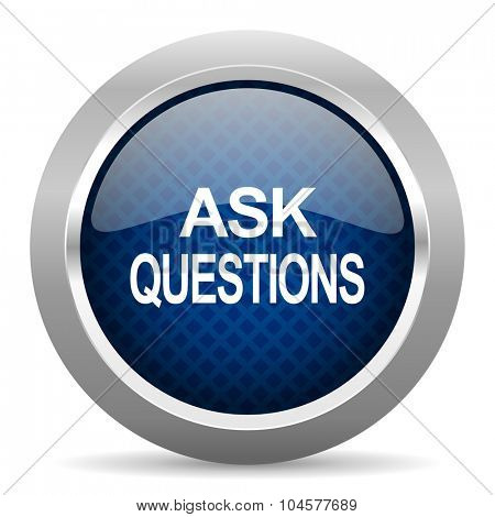 ask questions blue circle glossy web icon on white background, round button for internet and mobile app
