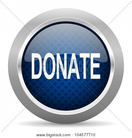 donate blue circle glossy web icon on white background, round button for internet and mobile app