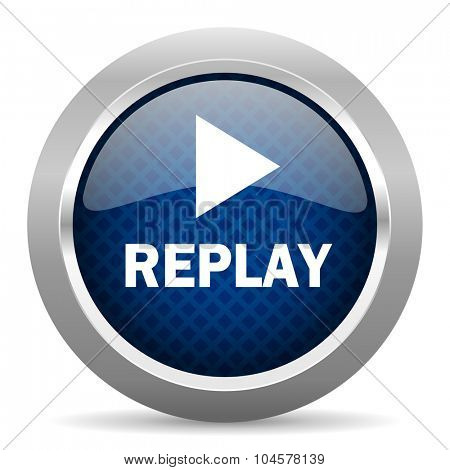 replay blue circle glossy web icon on white background, round button for internet and mobile app