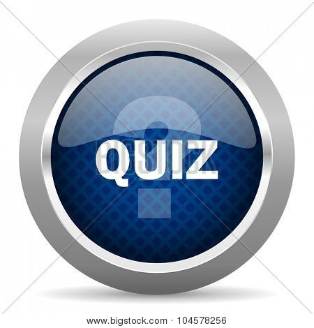 quiz blue circle glossy web icon on white background, round button for internet and mobile app