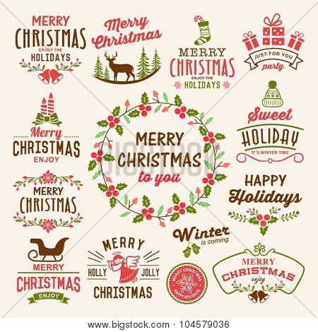 Christmas decoration collection - calligraphic and typographic design with badges, labels, icons, logos and objects elements.