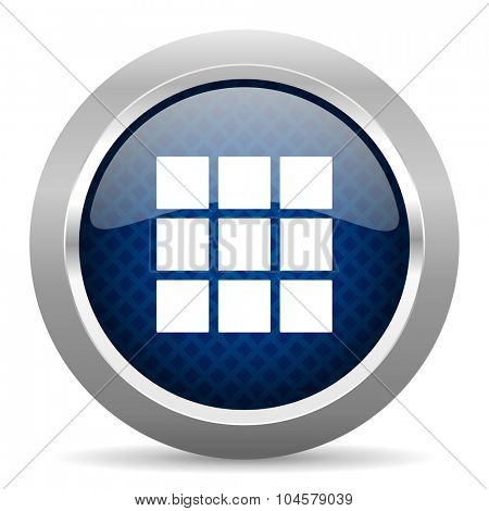 thumbnails grid blue circle glossy web icon on white background, round button for internet and mobile app