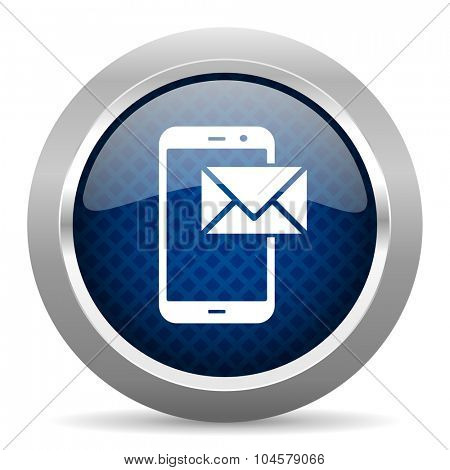 mail blue circle glossy web icon on white background, round button for internet and mobile app