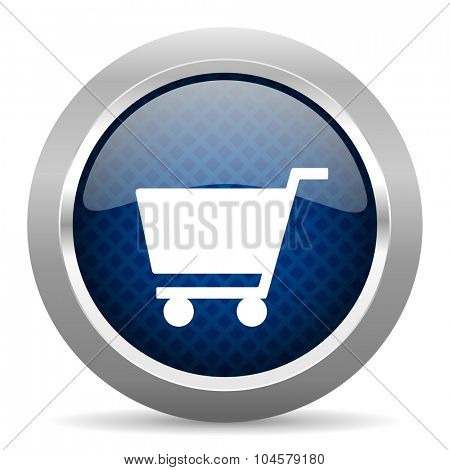 cart blue circle glossy web icon on white background, round button for internet and mobile app