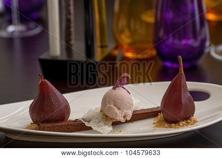 Wine Pear, Icecream And Browny Desert