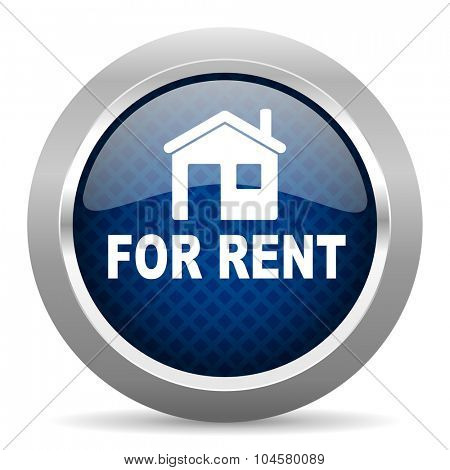 for rent blue circle glossy web icon on white background, round button for internet and mobile app