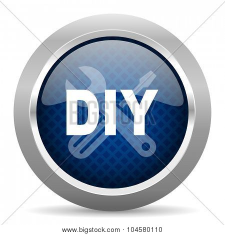 diy blue circle glossy web icon on white background, round button for internet and mobile app