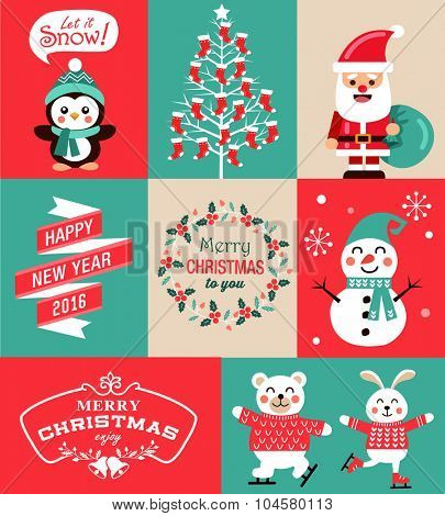Vector set of Christmas symbols, greeting card, banner and poster