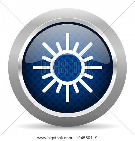 sun blue circle glossy web icon on white background, round button for internet and mobile app