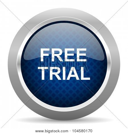 free trial blue circle glossy web icon on white background, round button for internet and mobile app