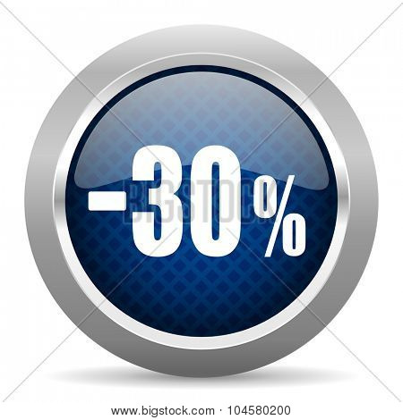 30 percent sale retail blue circle glossy web icon on white background, round button for internet and mobile app