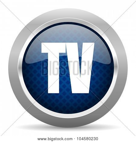 tv blue circle glossy web icon on white background, round button for internet and mobile app
