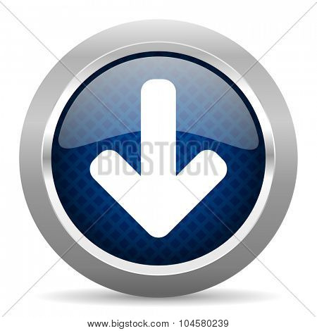 download arrow blue circle glossy web icon on white background, round button for internet and mobile app