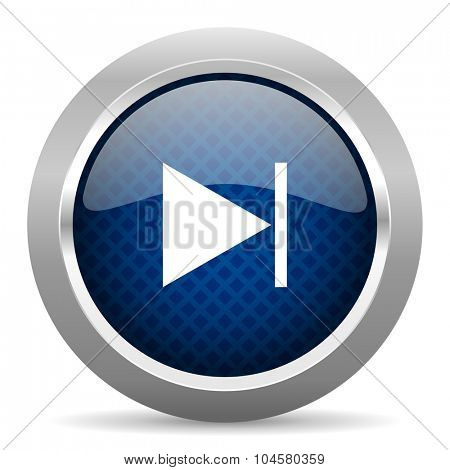 next blue circle glossy web icon on white background, round button for internet and mobile app