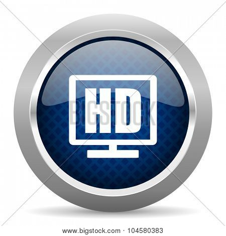 hd display blue circle glossy web icon on white background, round button for internet and mobile app