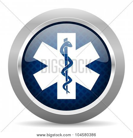 emergency blue circle glossy web icon on white background, round button for internet and mobile app