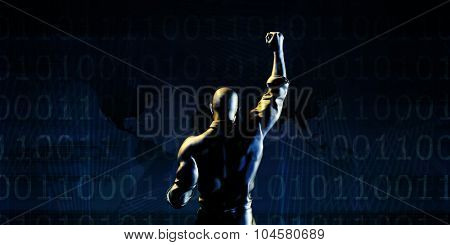 Technology Success Abstract Background with Businessman