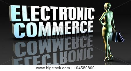 Electronic Commerce as a Concept with Lady Holding Shopping Bags