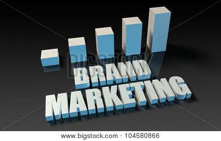 Brand marketing graph chart in 3d on blue and black