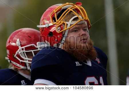 PUSHKIN, LENINGRAD OBLAST, RUSSIA - OCTOBER 10, 2015: Players of team Norway during the qualifying match of American Football European Championship 2016 against Russia. Russia won the match 20:0