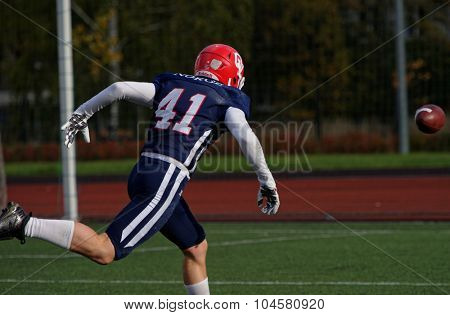 PUSHKIN, LENINGRAD OBLAST, RUSSIA - OCTOBER 10, 2015: Player of team Norway fight for the ball during the qualifying match of American Football European Championship 2016 against Russia