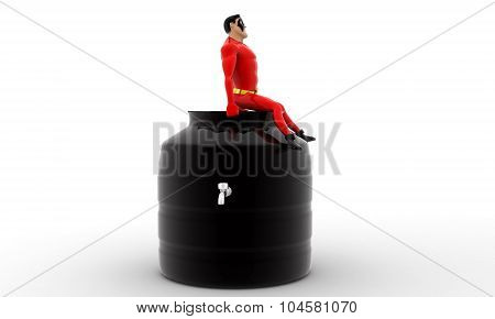 Superhero Sitting On Top Of  Water Storage Tank Concept