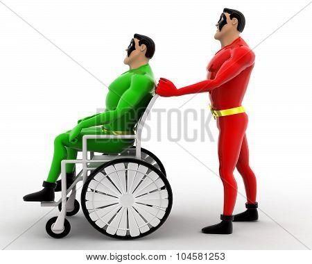 Superhero Helping A Ill Superhero On Wheel Chair Concept