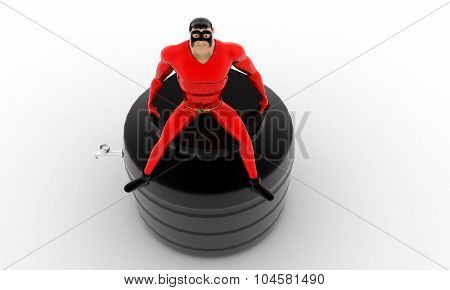 Superhero Sitting On Top Of  Water Storage Tank Concept