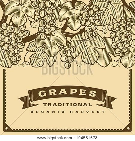 Retro grapes harvest card brown. Editable vector illustration with clipping mask.