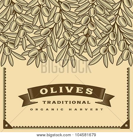 Retro olive harvest card brown. Editable vector illustration with clipping mask.