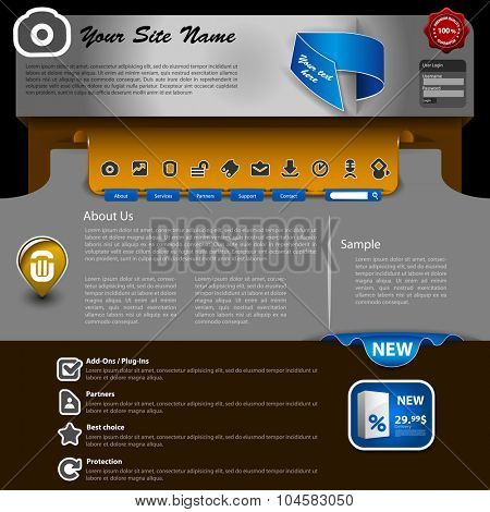 Website Template Design with Silver, Grey, Metallic Header and Web Design Elements