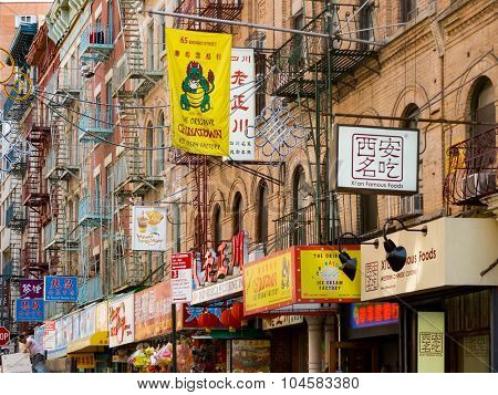 NEW YORK,USA - AUGUST 15,2015 : View of Chinatown in New York City with restaurants and other businesses