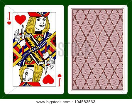 Jack of hearts playing card and backside background. Faces double sized. Original design