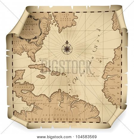 Old geographic map of Atlantic ocean region lands in a free interpretation with text. Vintage chart background. Contain an upper transparent texture what can be easily separated from the map image