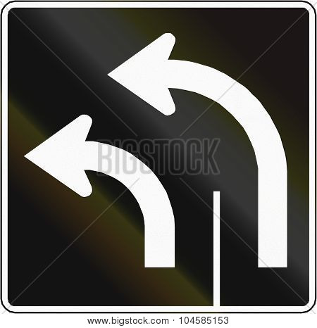 Two Lanes Turn Left In Canada