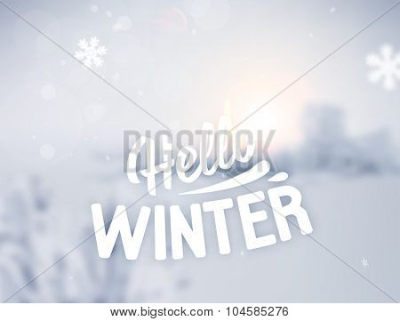 Winter Background. Blurred Landscape with Snow Drifts, Snowfall and Christmas Trees in the distance. Holiday Vector Illustration with Snowflakes, Sky and Label.