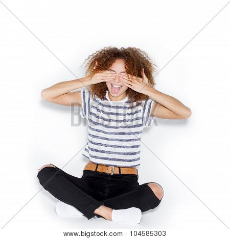 A Picture Of A Terrified Woman Covering Her Face