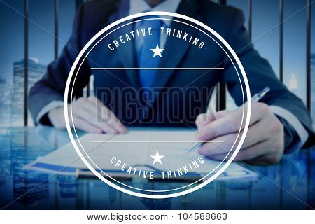 Businessman Signing Agreement Writing Contract Concept