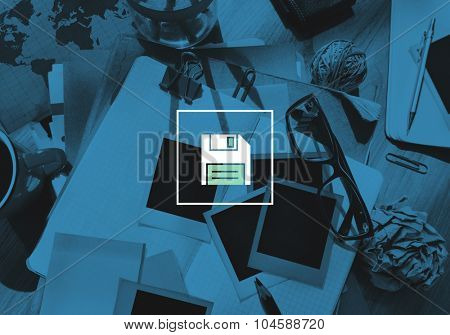 Diskette Floppy Drive Memory Storage Concept