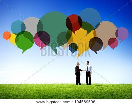 Business People Message Handshake Talking Communication Concept