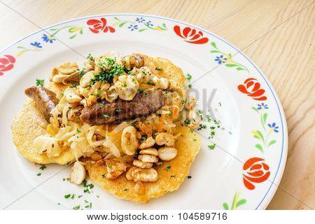 potato pancakes with sausage