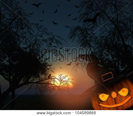 3D Halloween landscape of silhouette of trees against a sunset sky with spooky pumpkin and bats