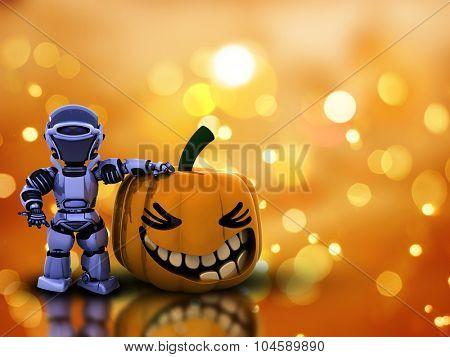 3D Halloween pumpkin and robot on an orange bokeh lights background