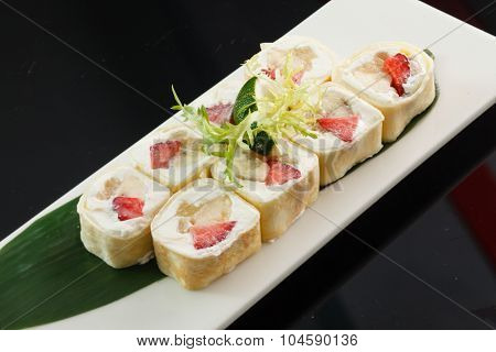 sushi with banana and strawberry