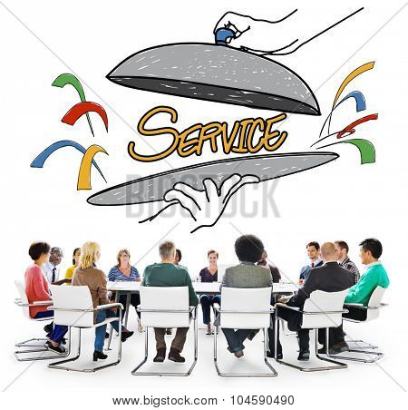 Customer Service Quality Platter Sketch Drawing Concept