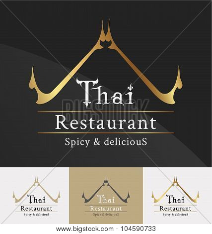 Thai Restaurant Logo Template Design.