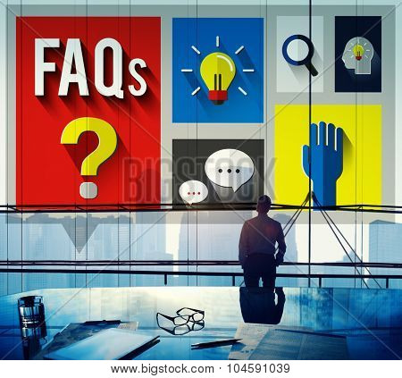 Frequently Asked Questions Help Answer Concept