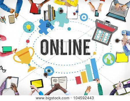 Online Network Connnecting Community Internet Concept
