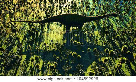 Prehistoric landscape with big diplodoc