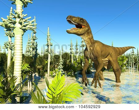 Prehistoric landscape with big T.rex the dinosaur